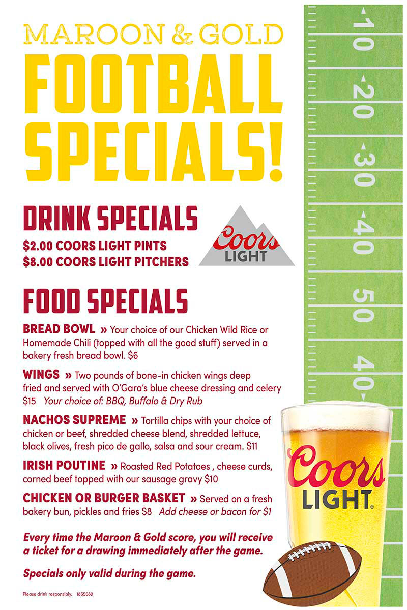Gophers Game Day Specials